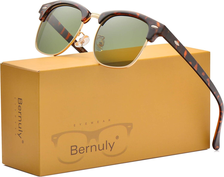 Classic Clubmaster Polarized Sunglasses for Mens Women, Half Frame