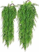 Holmeey Kunstmatige hangplant, 2 stuks kunstplanten, hangende wijnstokken, valse wanddecoratie, slinger, wijnstokken voor ...