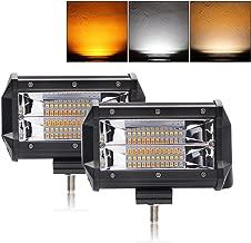 LED Light Bar 5 inch Dual Color Strobe Lights Led Pods Amber Off-Road Lights Flash Lights Driving Fog Lights Yellow White Led Light Bar for SUV ATV Truck BraveWAY(9628BS-2pcs)