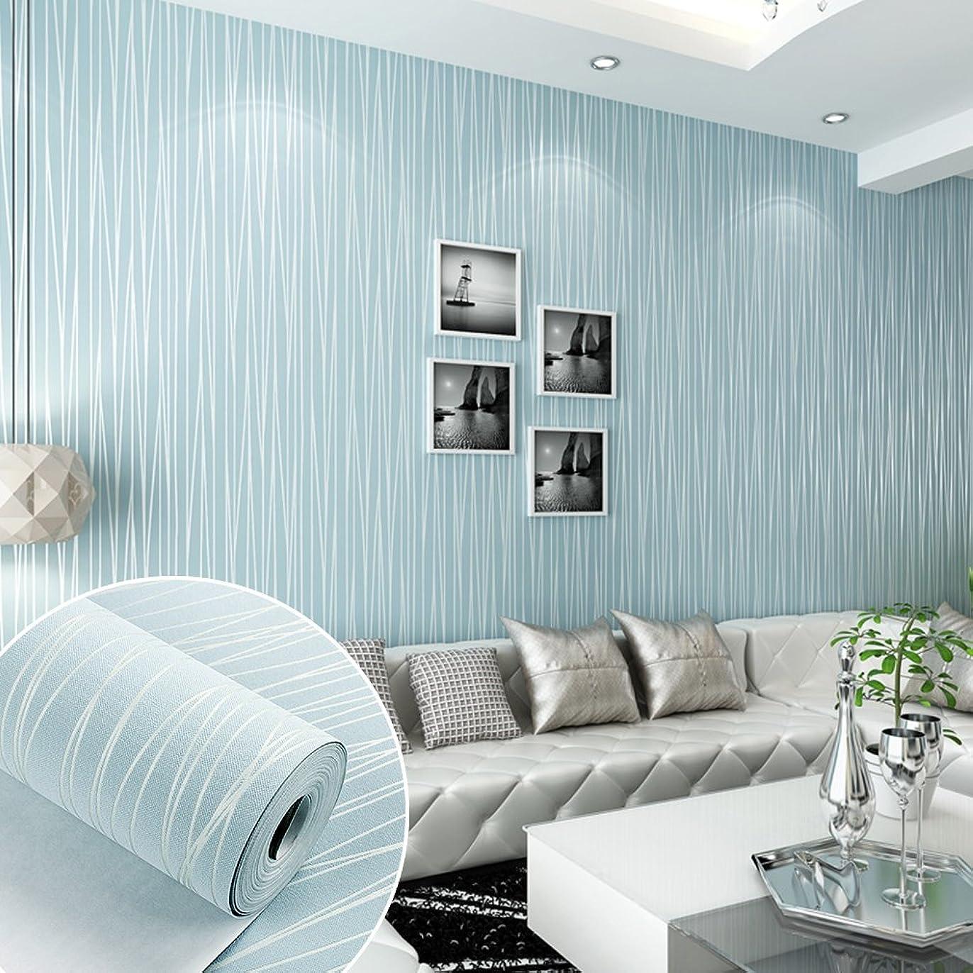 憂慮すべきとは異なり延ばすARUHE DIY 3D立体 壁紙 不織布 のりなし 壁紙 シンプルなストライプ 壁紙シール 月光の森 おしゃれ ベッドルーム リビングルームの背景 55cmx10m