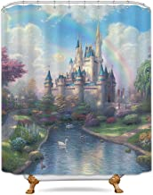 LIGHTINHOME Cinderella Castle Rainbow Kids Shower Curtain Forest Princess Lake White Swan Decor Fabric Panel Polyester Waterproof 72x78 Inch with 12 Pack Plastic Shower Hooks for Bathroom
