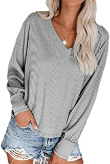 Domple Women's Long Sleeve Casual Loose V Neck T Shirt Blouse Tops