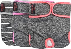 kyeese Sports Female Dog Diapers Reusable (3 Pack) Breathable Dog Panties Wraps Dog Diaper Cover Washable with Inside Pocket