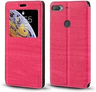 جراب HTC Desire 12 Plus، جراب جلد محبب خشبي مع حامل بطاقات ونافذة، غطاء قلاب مغناطيسي لهاتف HTC Desire 12 Plus