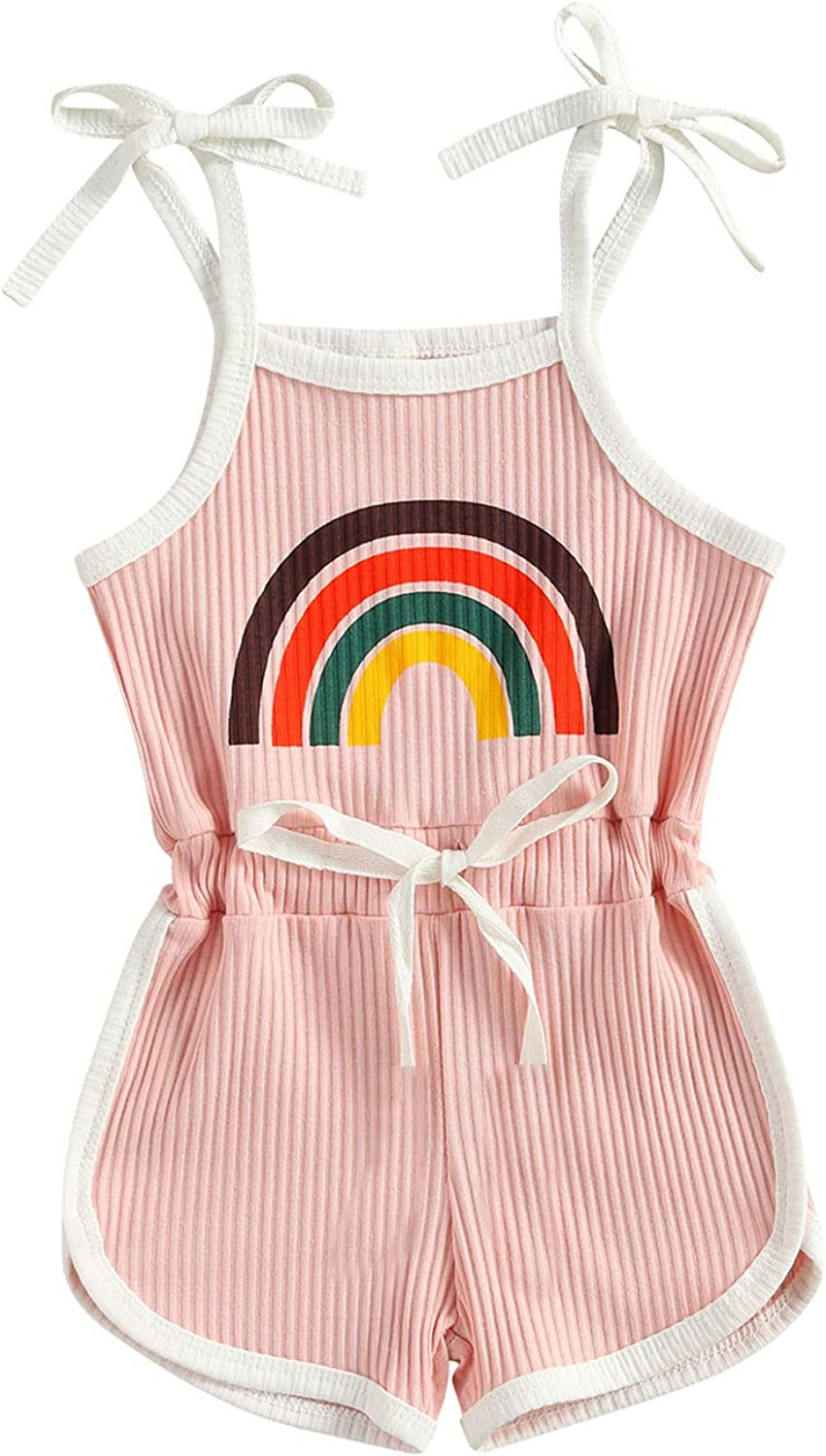 Toddler Baby Girl Straps Rainbow Romper Ribbe Max 56% OFF Piece Jumpsuit overseas One