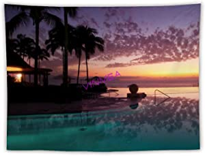 VinMea Tapestry Hanging Wall Decor,Puerto Vallarta Mexico Resort Pool at Trees Tapestry Wall Hanging Tapestry Blanket Decorate for Home Bedroom Seat 50