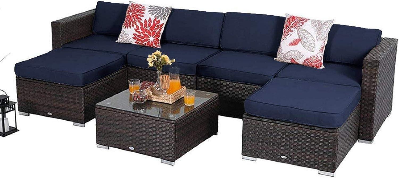 MFSTUDIO 7 Piece Be super welcome Patio Furniture Sectional Conversa Sale price Outdoor Sofa