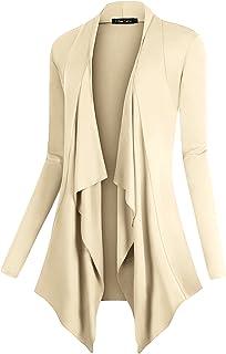Urban CoCo Women`s Drape Front Open Cardigan Long Sleeve Irregular Hem