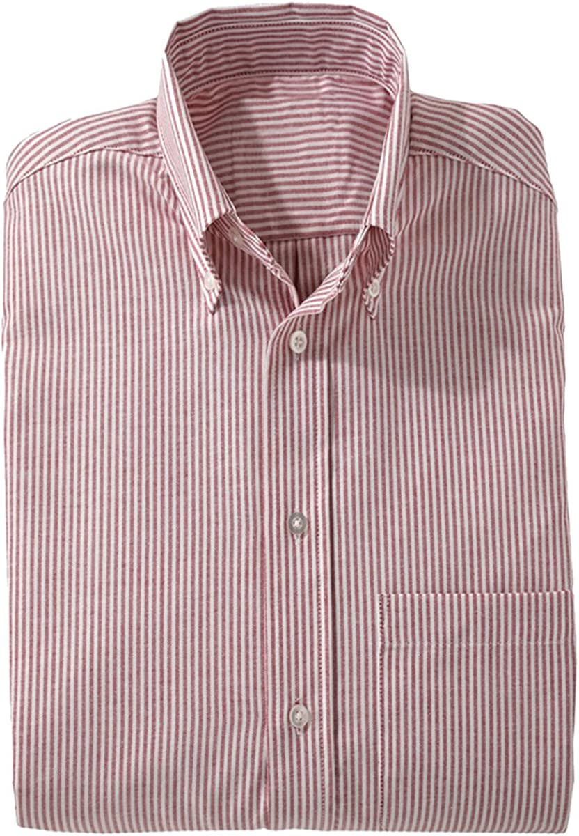 Edwards Garment Men's Big And Tall Short Sleeve Oxford Shirt_BURGUNDY STRIPE_X-Large Tall