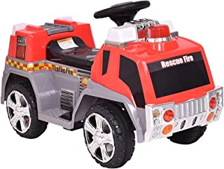 Costzon Kids Ride On Fire Truck 6V Battery Powered Fire Engine w/Lights & Music
