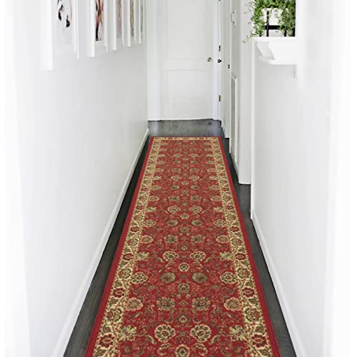 Ottomanson Ottohome Collection Traditional Floral Design Modern Runner Rug with Non-Skid (Non-