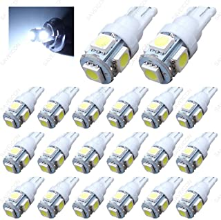 SAWE - 168 194 2825 T10 W5W 5050 5-SMD LED License Plate Dome Map Lights Bulbs (20 pieces) (White)