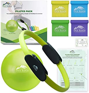 """Dux Ridge Pilates Ring 12"""" Magic Circle, 9"""" Pilates Mini Ball, Set of 4 Resistance Bands. Total Body Workout in one Box! Pilates Yoga Barre Physical Therapy. Strength Training Without Weights."""