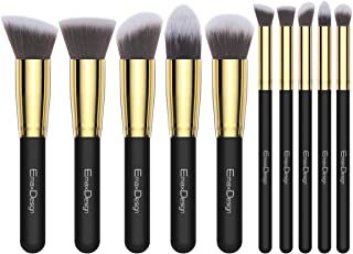 EmaxDesign Makeup Brushes 10 Pieces Professional Makeup Brush Set Synthetic Foundation Blending Concealer Eye Face Liquid Powder Cream Cosmetics Brushes Set (Golden Black)
