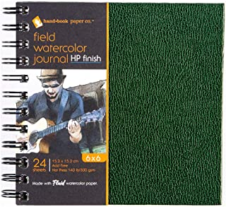 Hand Book Papers, Field Watercolor Journal, Fluid Watercolor Paper, Hot Press, 6X6 Inches