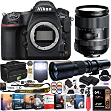 Nikon D850 45.7MP Full-Frame FX-Format Digital SLR Camera Black Body Bundle with 28-300mm F/3.5-6.3 Di VC PZD Lens, 500mm Telephoto Lens, 64GB Memory Card and Accessories (8 Items)