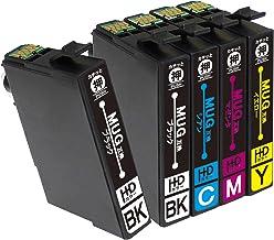 インクのチップス エプソン用 MUG-4CL 互換インク 4色セット+ブラック1本 全5本 (マグカップ互換) EW-452A EW-052A 対応