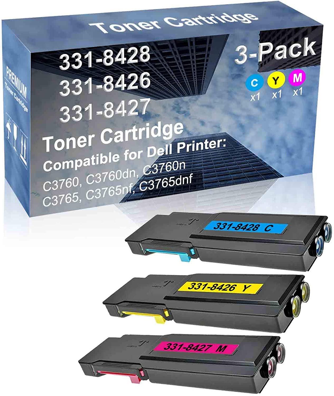 3-Pack (C+Y+M) Compatible C3760n, C3765 Printer Toner Cartridge High Capacity Replacement for Dell 331-8428+ 331-8426+ 331-8427 Toner Cartridge