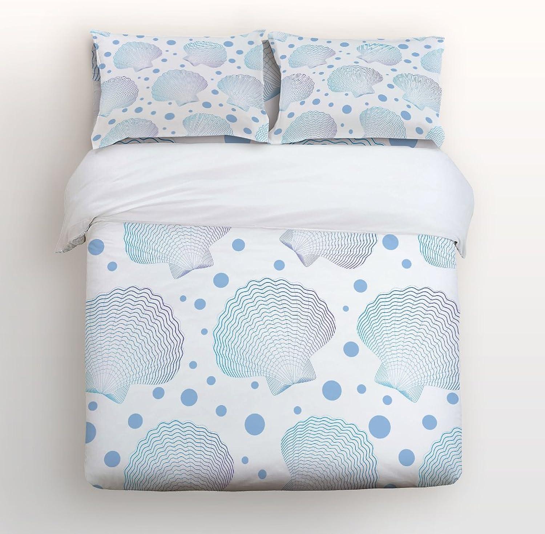 Libaoge 4 Piece Bed Sheets Set, Fresh Beach Theme Seashells and Polka Dot Print, 1 Flat Sheet 1 Duvet Cover and 2 Pillow Cases