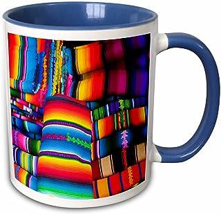 3dRose Textile Market, Santiago, Guatemala Mug, 11 oz, Blue
