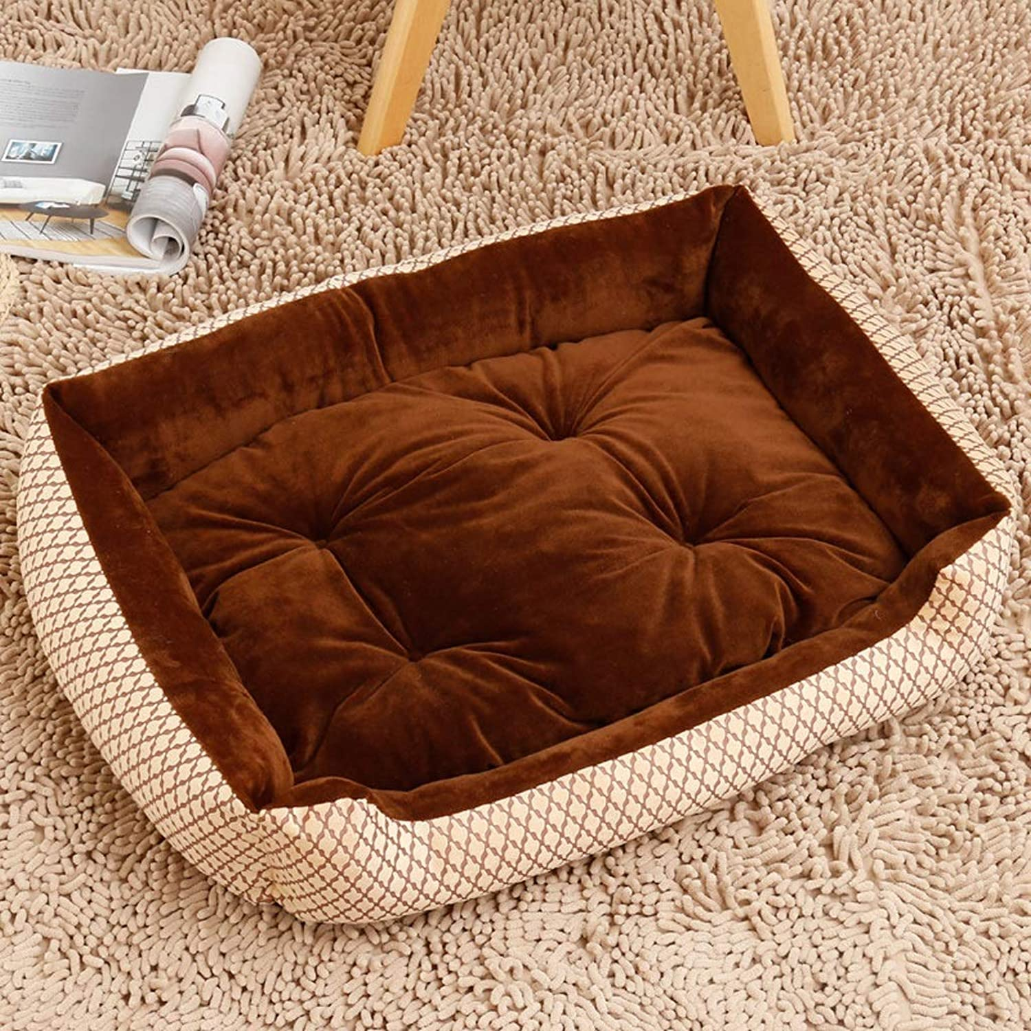 Kennel GAOLILI Washed Teddy Bear Winter Warm Pet Cat golden Retriever Mattress Small Dog Large Dog Supplies (color   C, Size   60  45  15CM)