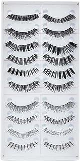 FOK Soft Natural Black Thick Long False Eyelashes Makeup Extension Pack Of 10 Pair Fake Eyelashes