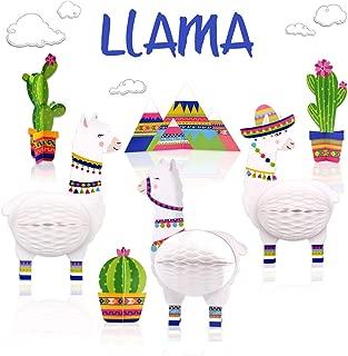 7PCS Llama Cactus Centerpieces Party Supplies, Llama Themed Birthday Party Decoration, Baby Shower Llama Honeycomb Birthday Party Decorations