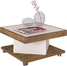 Artely Saara Coffee Table, Pine Brown with Off White - W 63 cm x D 63 cm x H 33.5 cm
