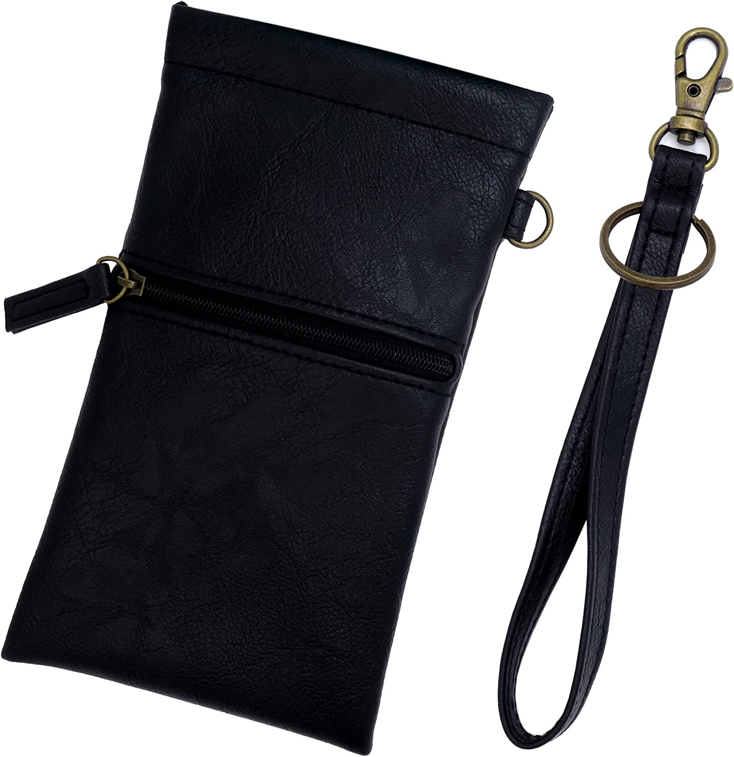 Soft Sunglass Pouch squeeze top extra-Large soft eyeglass case wristlet lanyard & cleaning cloth