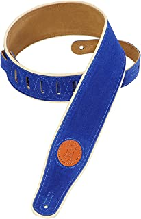 Levy's Leathers MSS3CP-ROY Suede-Leather Guitar Strap with Cream Piping,Royal Blue
