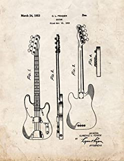 Clarence Fender Precision Bass Patent Print Old Look (5
