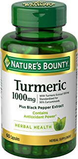 Nature's Bounty Turmeric Pills and Herbal Health Supplement, Supports Joint Pain Relief and Antioxidant Health, 1000mg, 60...
