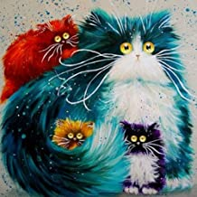 DIY 5D Diamond Painting by Number Kit, Cat Rhinestone Embroidery Cross Stitch Supply Arts Craft Canvas Wall Decor (Cat)