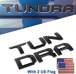 Cootack Tailgate Insert Letters 3D Raised for Toyota TUNDRA 2016-2019 (Matte Black) with 2 US Flags