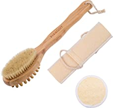 FIXBODY Loofah Back Scrubber with Face Sponge Pad & Bath Shower Body Brush, Natural Boar Bristles & Bamboo Handle, Use Wet or Dry Skin, Exfoliating and Cellulite for Radiant and Smoother Skin (3PCS)