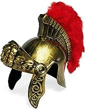 Colonel Pickles Novelties Roman Soldier Legion Gladiator Helmet - Costume Armor - Centurion Gold Headgear w/ Red Feather Plume
