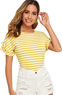 DIDK Women's Contrast Neck Rib Knit Striped Crop Tee Top