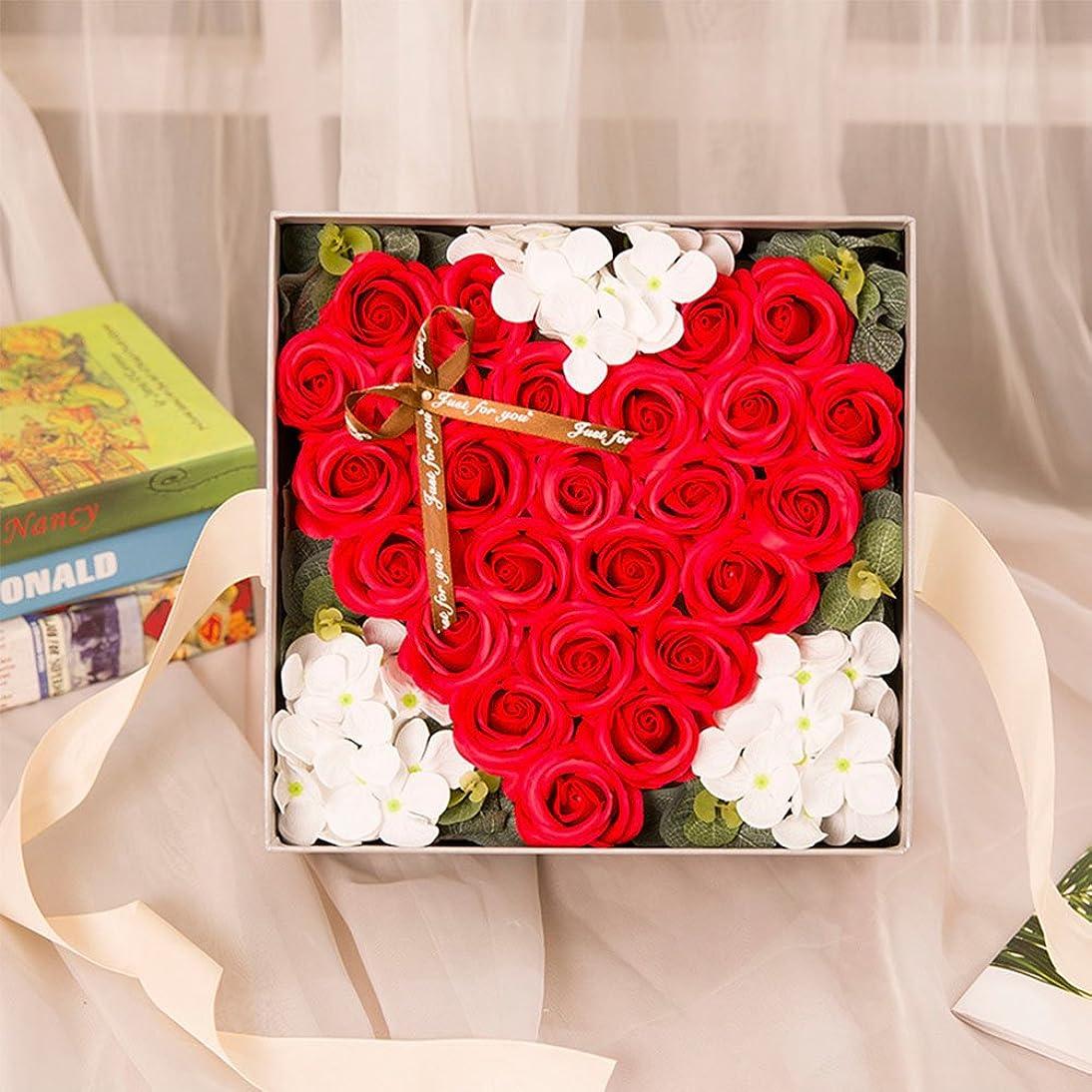 障害者望ましい炭水化物RaiFu クリエイティブ シミュレーションローズ手作り石鹸 ギフトボックスホームデコレーション ユニークなギフト 赤い桃の心