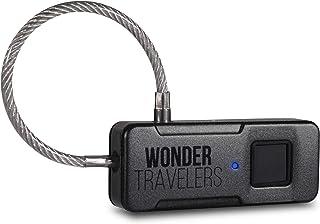 WONDER TRAVELERS 指紋認証スマートロック ワイヤー南京錠 USB充電式 IP65防水防塵 旅行中の防犯用カギ バッグ リュック ロッカー 自転車 アウトドアでも使える鍵(ブラック)