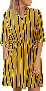 YOINS Vestito Elegante da Donna Manica Lunga Abiti a Quadri Scollo a V Abito Scozzese da Cocktail