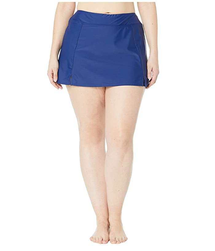 Maxine of Hollywood Swimwear Plus Size Solids Separate Waist Band Skort Bottoms (Navy) Women