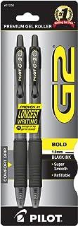 PILOT G2 Premium Refillable & Retractable Rolling Ball Gel Pens, Bold Point, Black Ink, 2-Pack (31250)