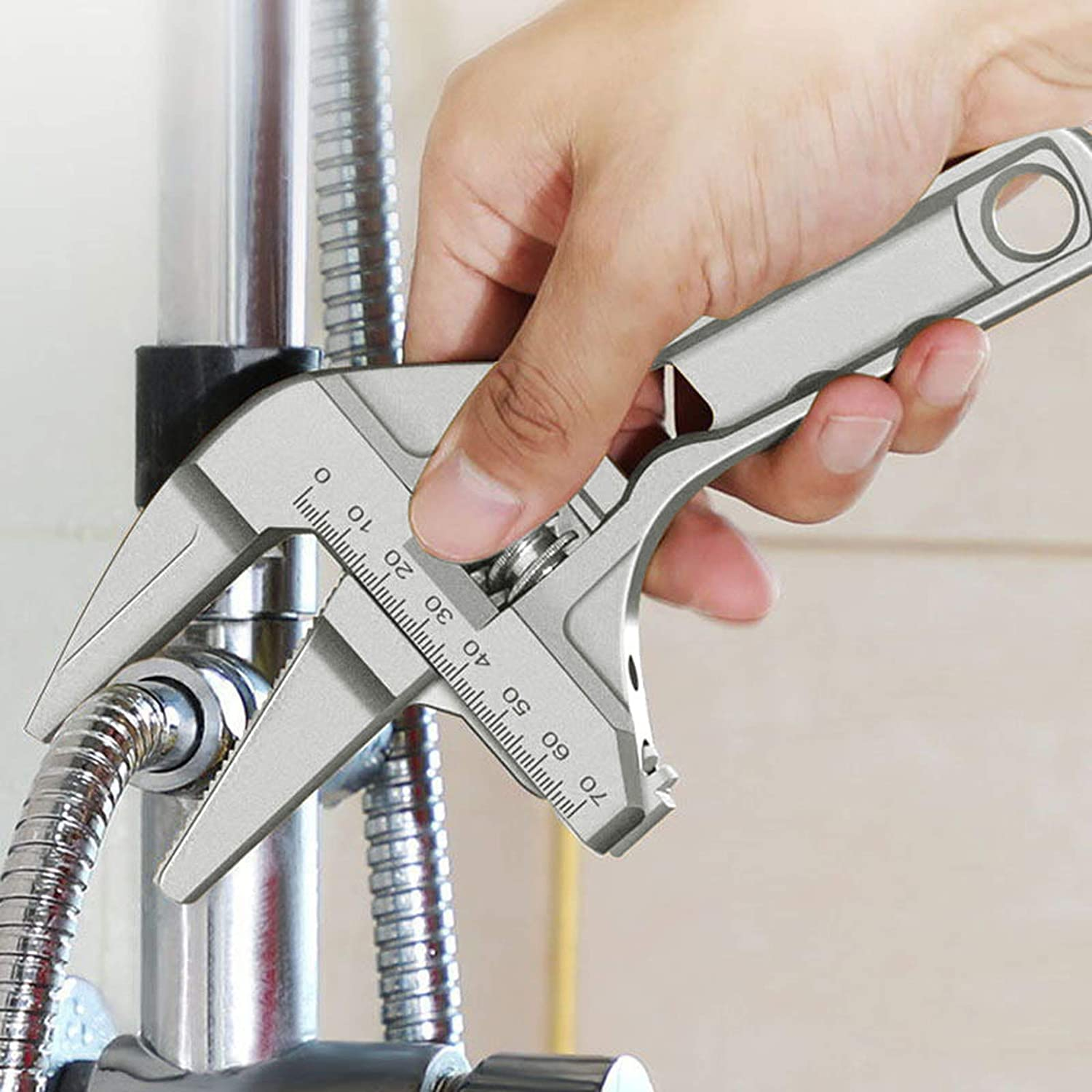 Lixuu Adjustable Wrench,Multi-Function Plumber Wrench Repair Tool for Bathroom Kitchen Sink Washbasin Tube Nut