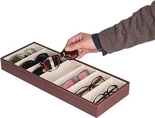 JackCubeDesign Leather 7 Compartments Eyeglass Display Organizer Eyeglasses Sunglass Storage Case Box Eyewear Tray Stand O...