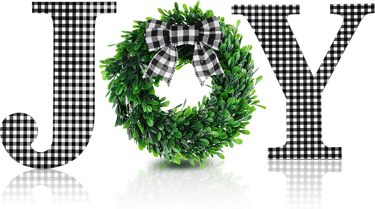 12 Inch Christmas Joy Home Sign Wooden Joy Letter Wall Decor Buffalo Plaid Wall Hanging Letter Faux Green Farmhouse Wreath Large Joy Sign with Plaid Bow for Indoor Outdoor Home Decor (Black-White)