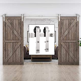 EaseLife 12 FT Heavy Duty Brushed Nickle Double Door Sliding Barn Door Hardware Track Kit,Modern,Sturdy,Slide Smoothly Quietly,Easy Install,Fit Double 36