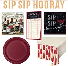 Wine Tasting Party Kit Bundle for 24 Guests: Banner, Table Cover, Wine Score Cards, Napkins & Plates