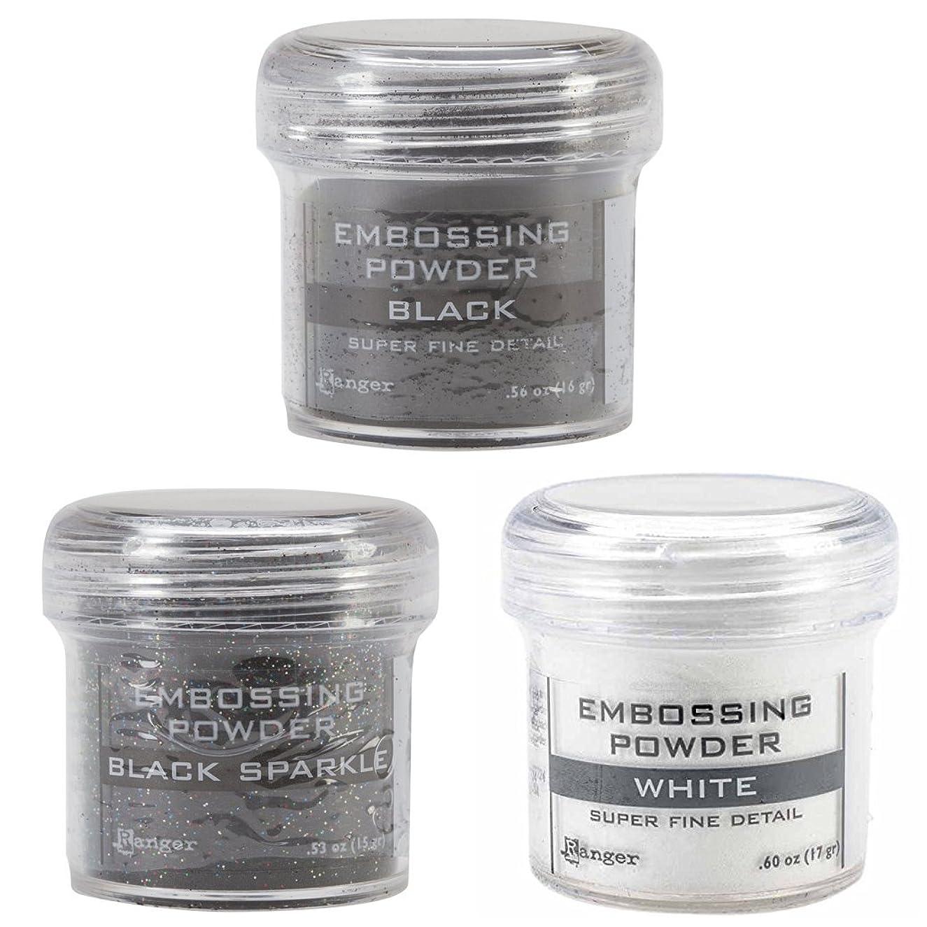 Ranger Embossing Powder Bundle of 3 Black and White Colors: Super Fine Black, Black Sparkle, and Super Fine White