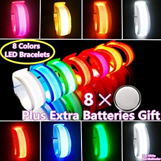 LED Armbands, Light Up Bracelets, Flashing Sports Wristband Pack of 8 Glow in The Dark Party Supplies for Concerts, Festivals, Sports, Parties, Night Events