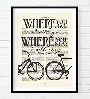 Where You Go I Will Go, Ruth 1:16, Christian Art Print, Unframed, Vintage Bible Page Verse Scripture Wall Decor Poster, Inspirational Wedding Gift, 8x10 Inches